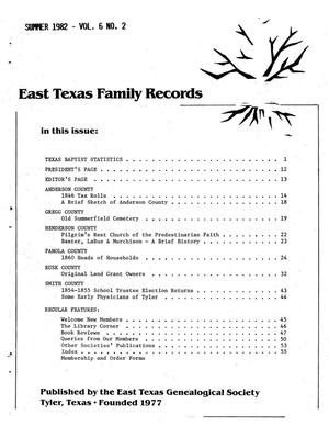 East Texas Family Records, Volume 06, Number 02, Summer 1982