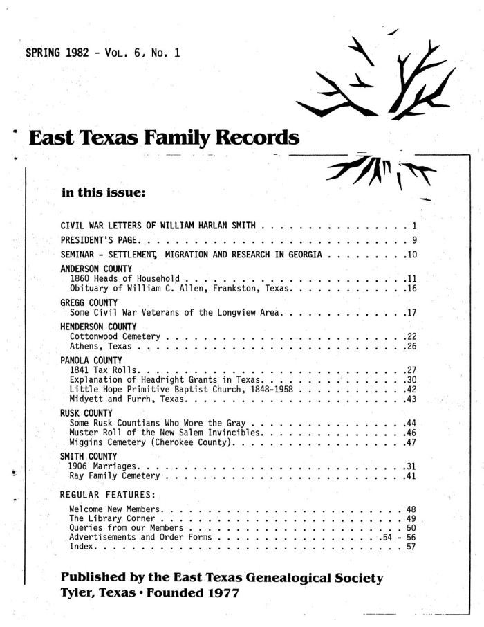 East Texas Family Records, Volume 6, Number 1, Spring 1982