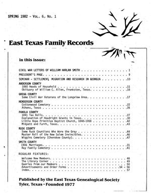 Primary view of object titled 'East Texas Family Records, Volume 6, Number 1, Spring 1982'.
