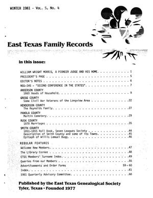 Primary view of object titled 'East Texas Family Records, Volume 05, Number 04, Winter 1981'.