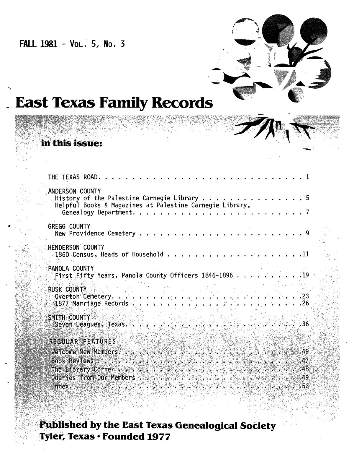 East Texas Family Records, Volume 05, Number 03, Fall 1981                                                                                                      Front Cover