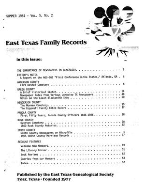 Primary view of object titled 'East Texas Family Records, Volume 05, Number 02, Summer 1981'.