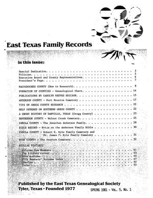 Primary view of object titled 'East Texas Family Records, Volume 05, Number 01, Spring 1981'.