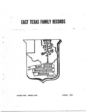 Primary view of object titled 'East Texas Family Records, Volume 4, Number 4, Winter 1980'.