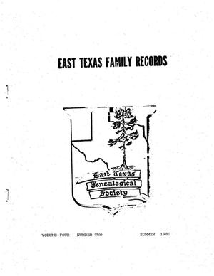 Primary view of object titled 'East Texas Family Records, Volume 04, Number 02, Summer 1980'.