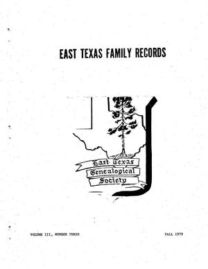 Primary view of object titled 'East Texas Family Records, Volume 03, Number 03, Fall 1979'.