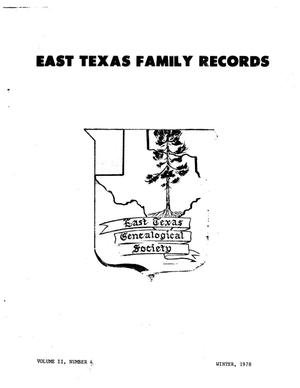 East Texas Family Records, Volume 02, Number 04, Winter 1978