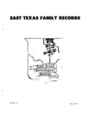 Primary view of object titled 'East Texas Family Records, Volume 2, Number 3, Fall 1978'.