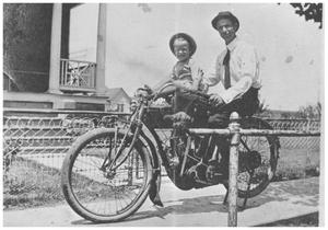 [The First Motorcycle in Mineral Wells]