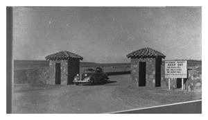 Primary view of object titled '[The Entrance to Camp Wolters]'.