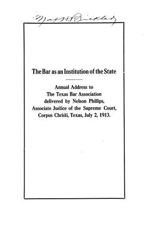 The Bar as an Institution of the State