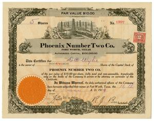 Primary view of object titled '[Phoenix Number Two Co. Stock Certificate]'.