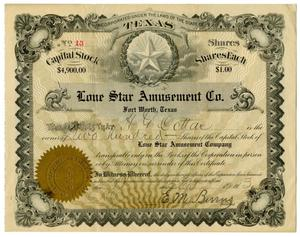 [Lone Star Amusement Co. Stock Certificate]