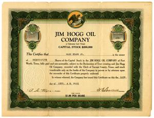 Primary view of object titled '[Jim Hogg Oil Company Stock Certificate]'.