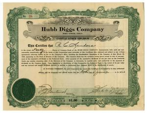 Primary view of object titled '[Hugg Diggs Company Stock Certificate]'.
