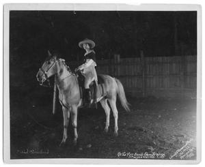 Primary view of object titled '[Mabel Strickland on a horse]'.