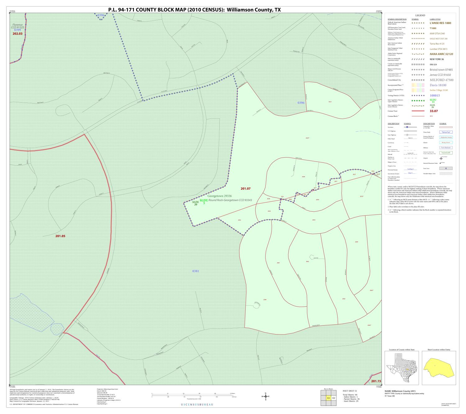 P.L. 94-171 County Block Map (2010 Census): Williamson County, Inset E01                                                                                                      [Sequence #]: 1 of 1