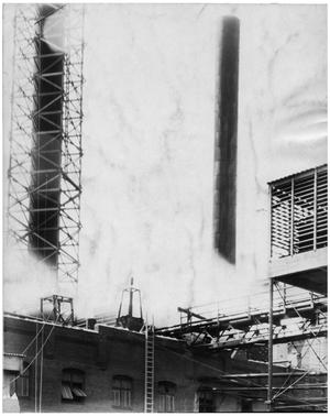 Primary view of object titled '[Elevated Cooling Tower and Stacks]'.