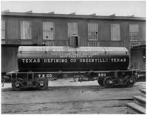 Primary view of object titled '[Tank Car at Texas Refining Company]'.