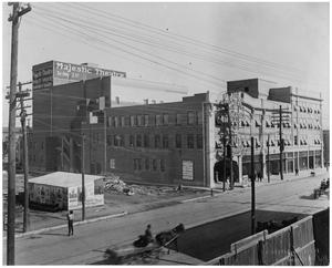 Primary view of object titled '[Majestic Theatre and Surrounding Businesses in Fort Worth, Texas]'.