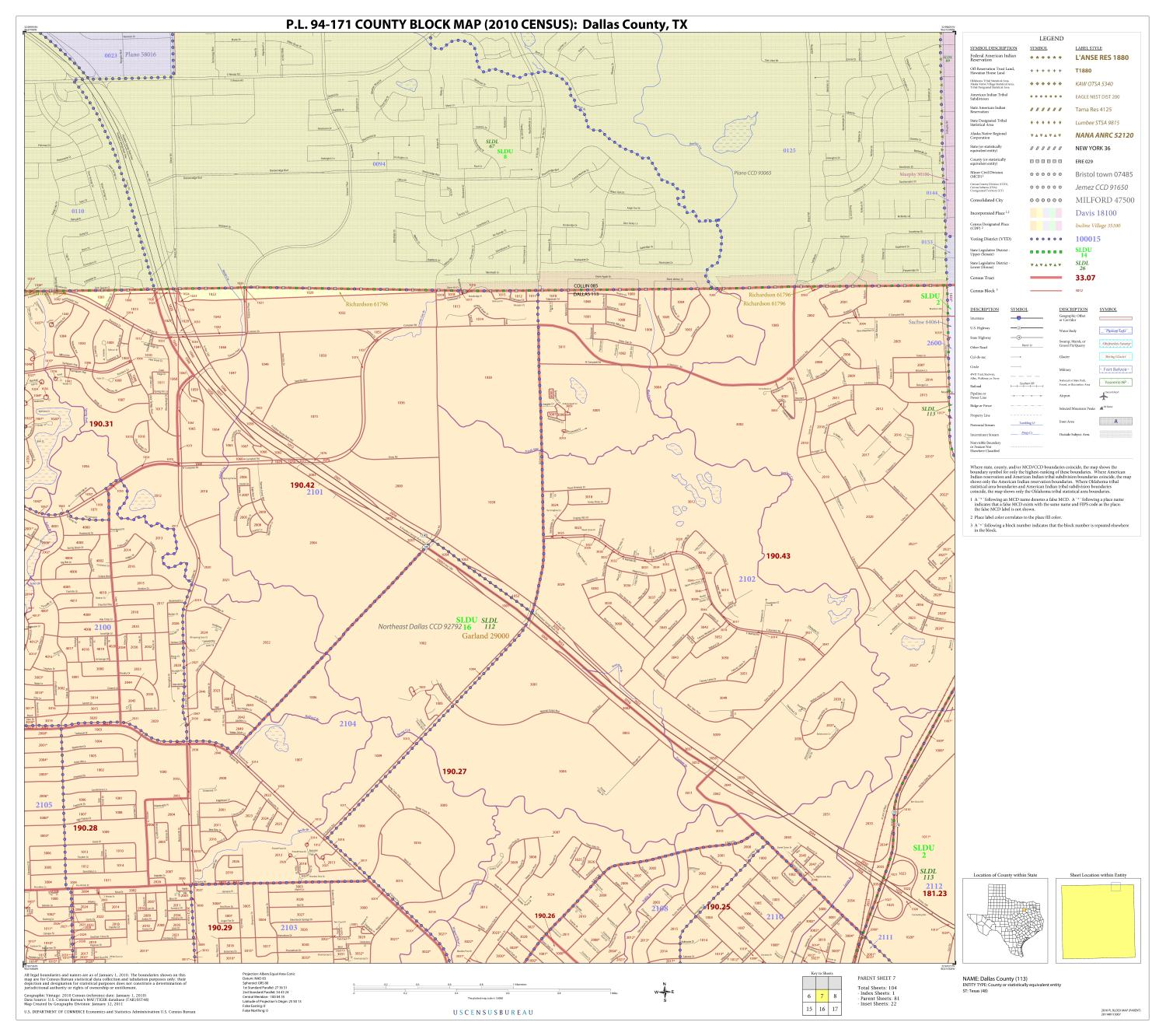 P.L. 94-171 County Block Map (2010 Census): Dallas County, Block 7                                                                                                      [Sequence #]: 1 of 1
