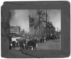 Primary view of object titled '[Texas & Pacific Railroad Station Fire, 1904]'.