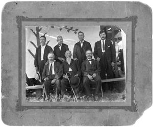 Primary view of object titled '[Seven unidentified men in group]'.