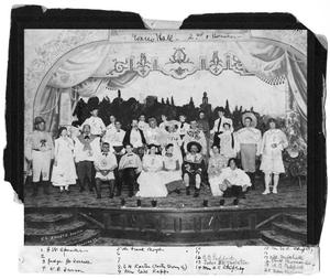 Primary view of object titled 'Group in costume posed on stage at Old Evans Hall--2nd and Houston'.