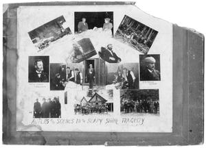 Primary view of object titled '[Collage of Actors and Scenes in the Soap Smith Tragedy, 1898]'.