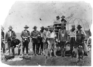 Primary view of object titled '[President Theodore Roosevelt's at chuck wagon campfire]'.