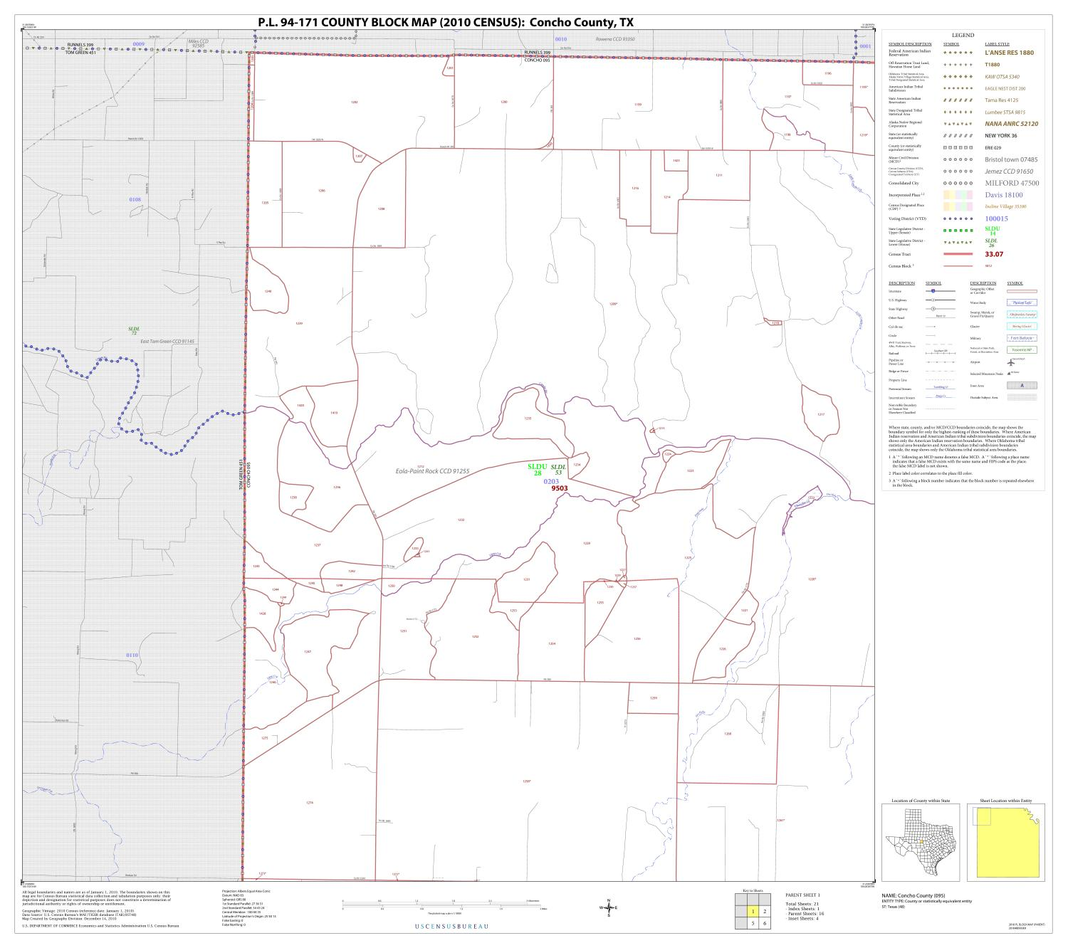 P.L. 94-171 County Block Map (2010 Census): Concho County, Block 1                                                                                                      [Sequence #]: 1 of 1