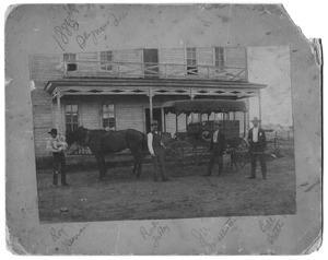 Primary view of object titled '[Men and Carriage in Front of Hotel]'.