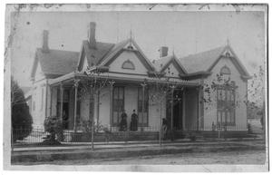 Primary view of object titled '[One Story House with Front Porch]'.