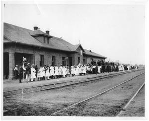 Primary view of object titled '[Railroad Station in Ranger, Texas]'.