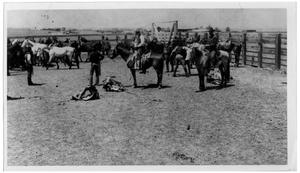 Primary view of object titled 'Cowboys in the Corral at Pennington Ranch'.