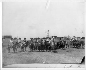 Primary view of object titled 'Ten Cowboys on Ranch Near Clarendon, Texas'.
