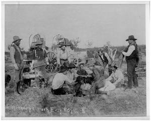 Primary view of object titled 'Cowboys Chapping another Cowboy on the Bar S Ranch'.