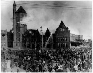 Primary view of object titled 'First Texas and Pacific Railway Station on Fire'.