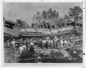 "Primary view of object titled 'Collision of Two Texas and Pacific ""Cannon Balls"" in Jefferson, Texas'."