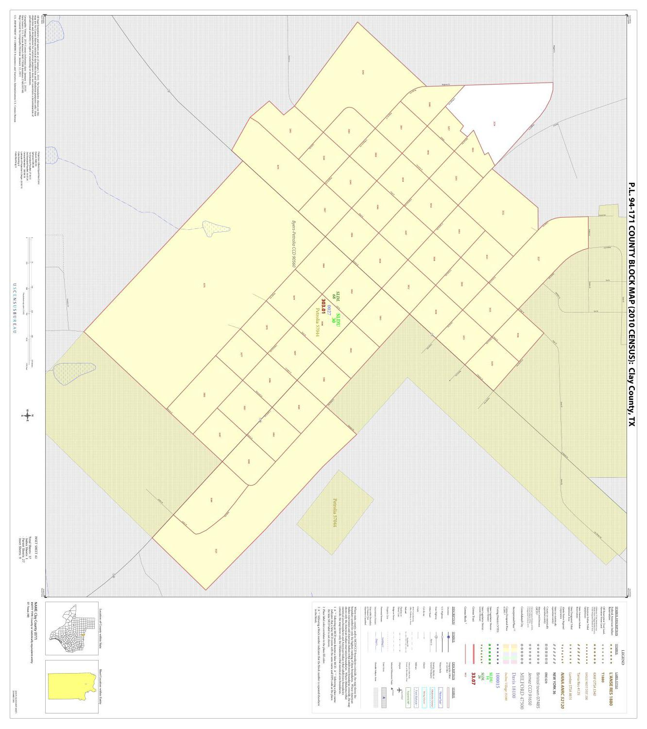 P.L. 94-171 County Block Map (2010 Census): Clay County, Inset A01                                                                                                      [Sequence #]: 1 of 1