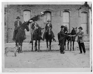 Primary view of object titled '[Men on horses with dogs]'.