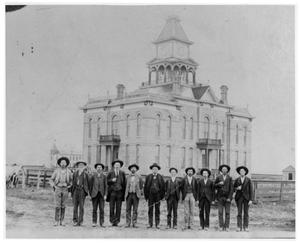 Primary view of object titled '[Courthouse and Cottle County Officials]'.