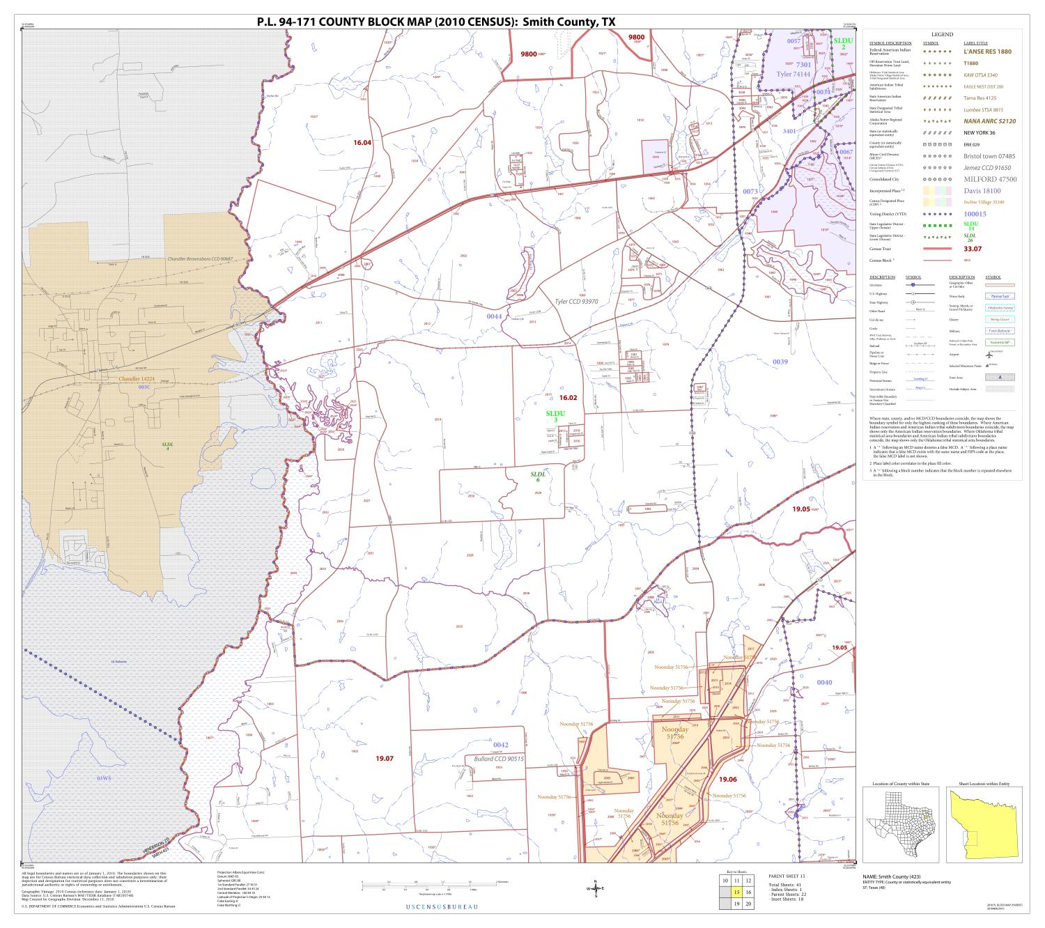 P.L. 94-171 County Block Map (2010 Census): Smith County, Block 15                                                                                                      [Sequence #]: 1 of 1