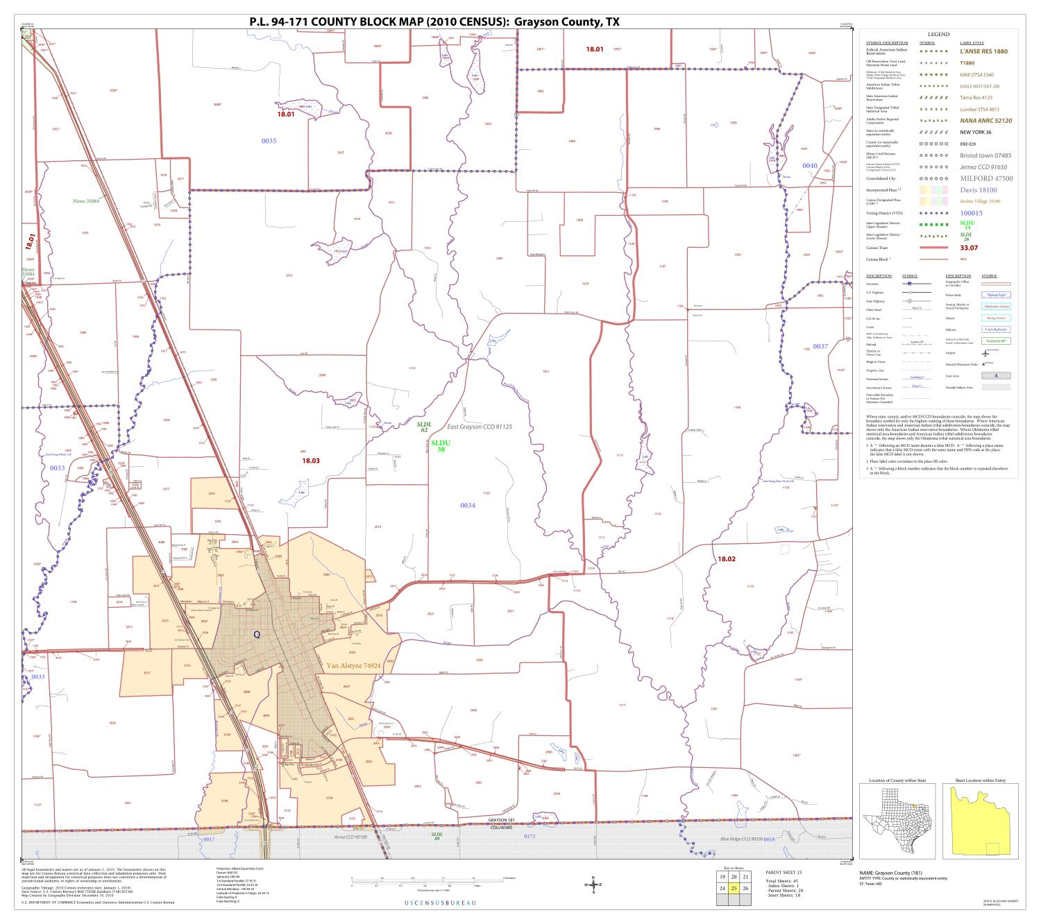 P.L. 94-171 County Block Map (2010 Census): Grayson County, Block 25                                                                                                      [Sequence #]: 1 of 1