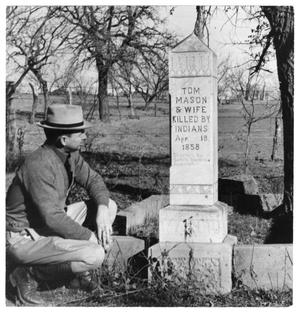 Primary view of object titled '[Man standing near grave]'.