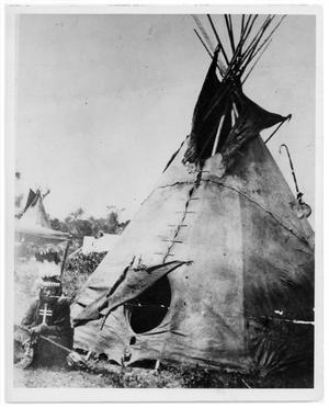 Primary view of object titled '[Indian Scout and teepee]'.