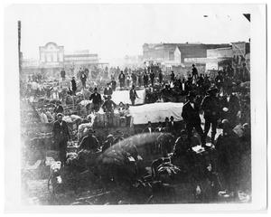 Primary view of object titled 'Houston Street on Market Day in Ft. Worth, Texas in 1877'.