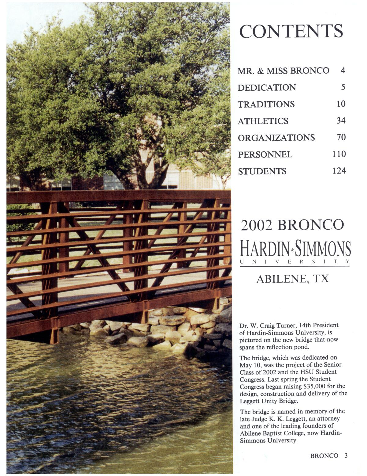 The Bronco, Yearbook of Hardin-Simmons University, 2002                                                                                                      3