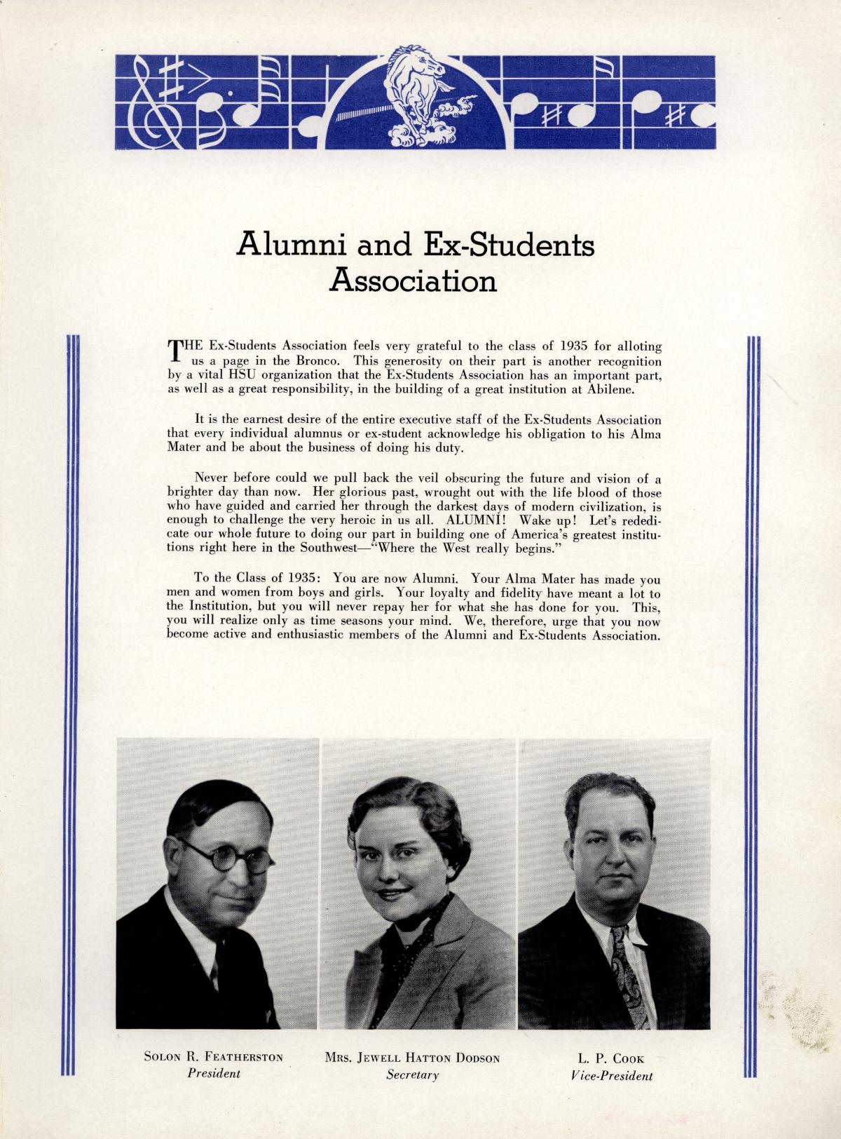 The Bronco, Yearbook of Hardin-Simmons University, 1935                                                                                                      31