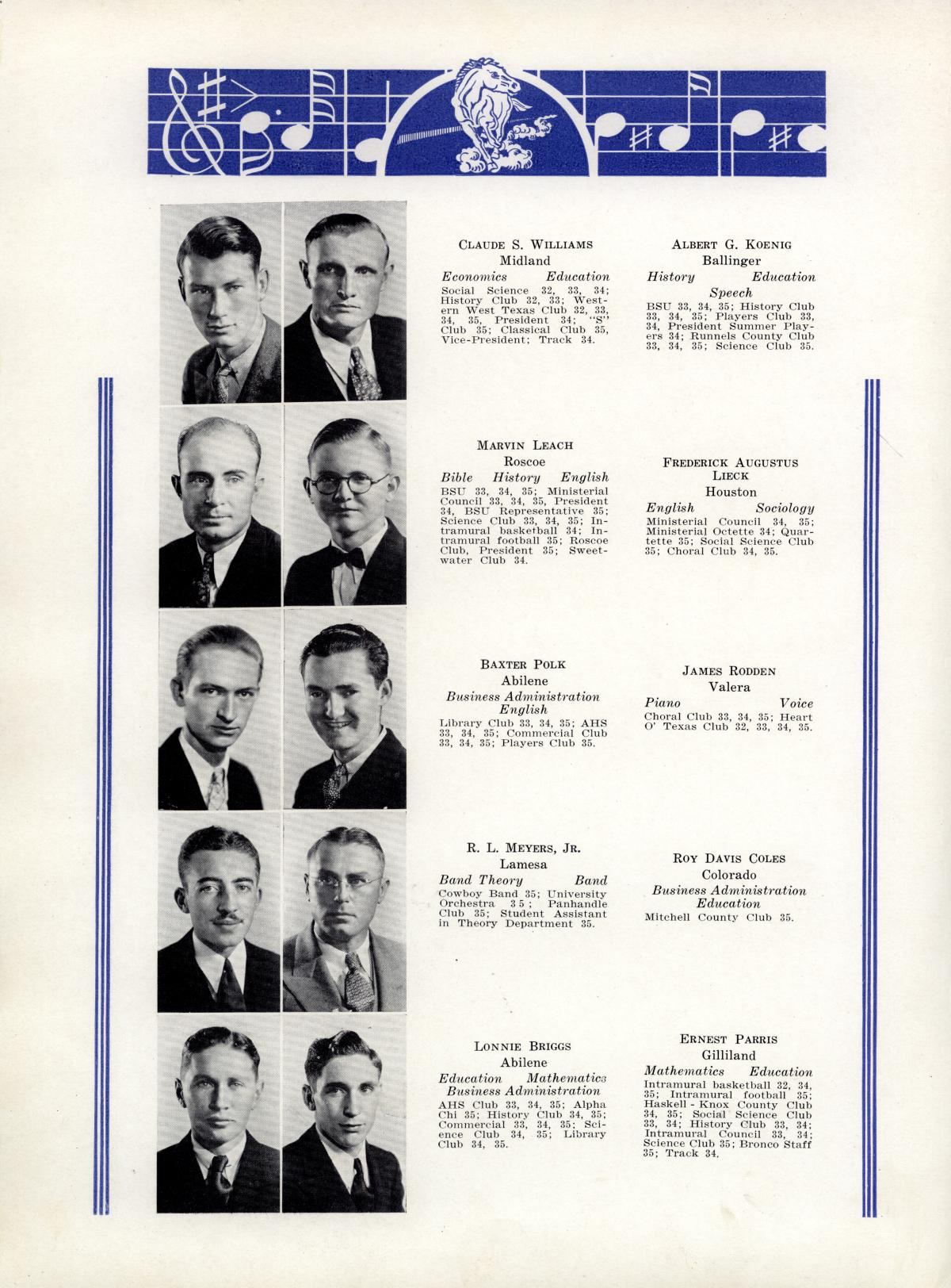 The Bronco, Yearbook of Hardin-Simmons University, 1935                                                                                                      38